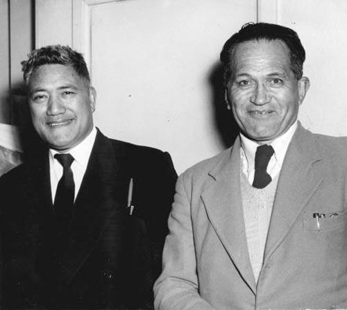 Arapeta Awatere (left) and George Nēpia
