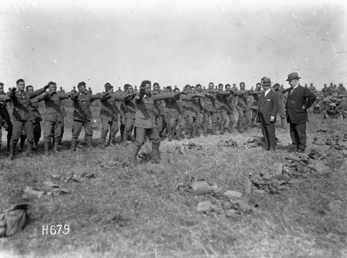 The Māori (Pioneer) Battalion performs a haka, France, 1918