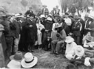 Rua Kēnana Hepetipa meeting with Joseph George Ward on the beach at Whakatāne, March 1908