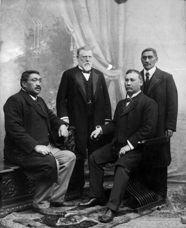 Political opponents: from left, Hēnare Kaihau, Richard Seddon, James Carroll, King Mahuta.