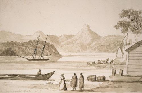 Traders and Māori at Coromandel Harbour, around 1848