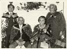 Carver Wiremu Te Ranga (Piri) Poutapu (seated, left) after receiving the MBE honour in 1974