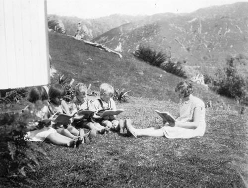 Sylvia teaching at Whareorino, 1932