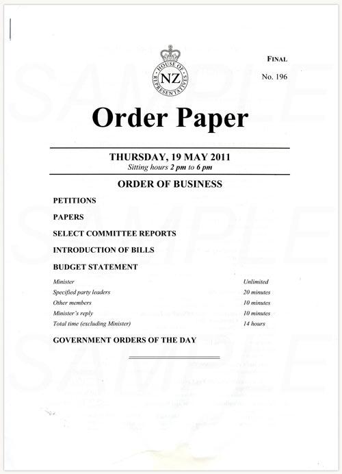 Order paper