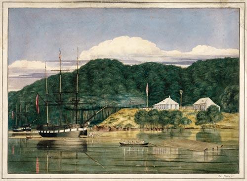Loading kauri, Hokianga, 1839