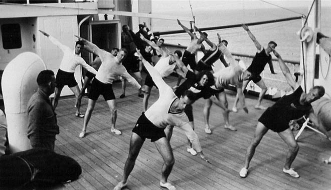 Athletes on the voyage to Los Angeles, 1932