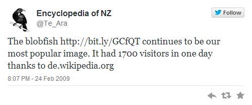 First Te Ara tweet, 2009