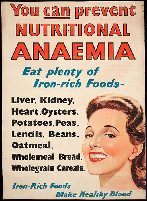 Nutritional anaemia poster, 1940s