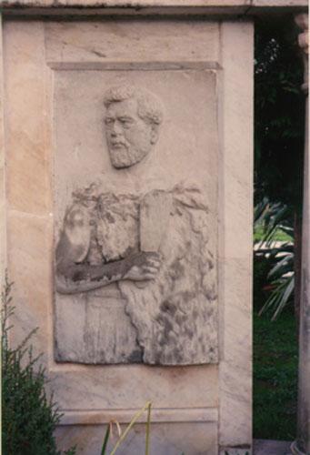 A relief carving of Hamuera Tamahau Mahupuku on his memorial at Papawai, Wairarapa