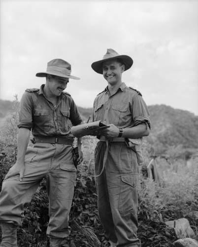 Captain Brian Matauru Poananga (right) with Lieutenant J. Brooke in Korea