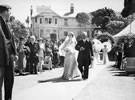 Benjamin Sutherland (right) accompanies his daughter Jean at her marriage to Dr Reay Mackay in 1938