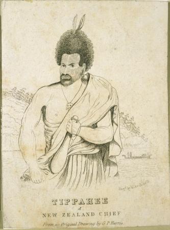 Engraved portrait of Te Pahi