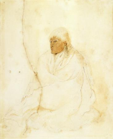 Watercolour portrait of Te Rauparaha about 1842