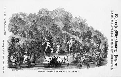 Missionaries cross a swamp