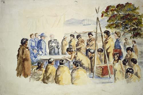 Signing the Treaty of Waitangi