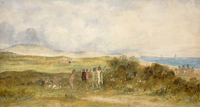 On the beach, 1840s