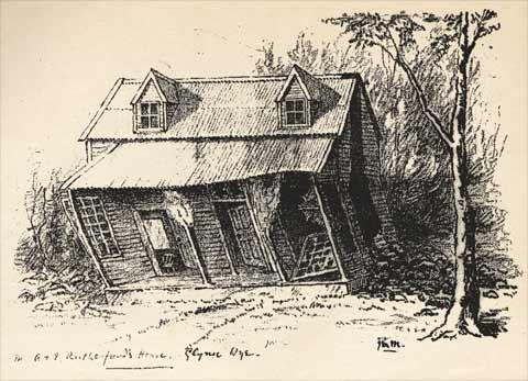 Damaged cottage, 1888