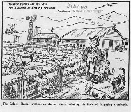Cartoon of Sid Holland, 1952