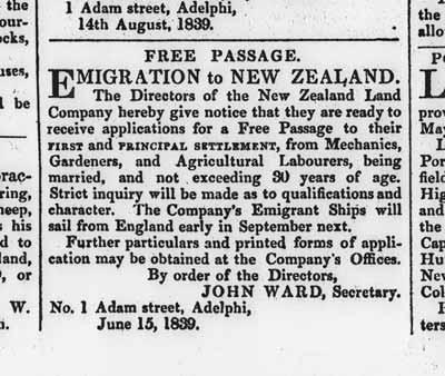 New Zealand Company advertisement
