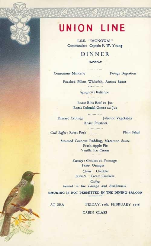 Dinner on the Monowai