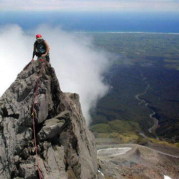 Rock climbing on Mt Taranaki