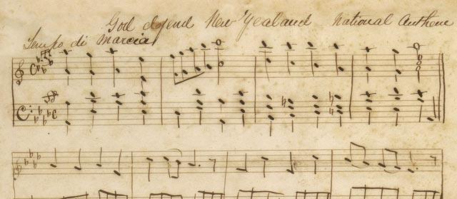Handwritten manuscript for 'God defend New Zealand'