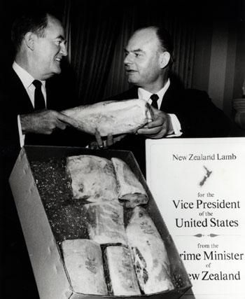Ambassador to the US George Laking gives New Zealand lamb to US Vice-President Hubert Humphrey, 1966