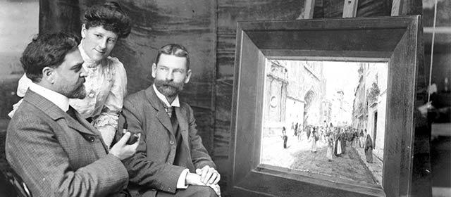 Charles Baeyertz, editor of the <em>Triad</em>, artist Charles Worsley and Worsley's wife Beatrice
