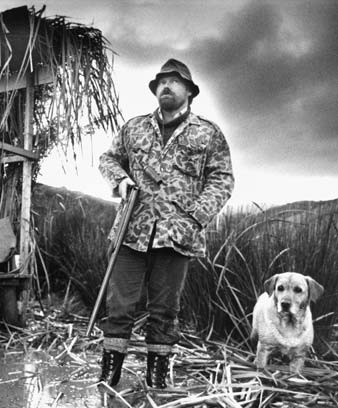 Hunter Brad Parkes, with his dog Sha