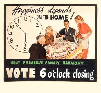 A 1940s poster for six o'clock pub closing