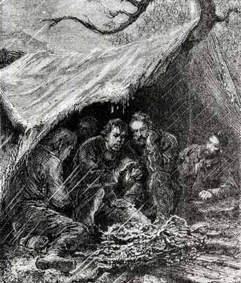Alphonse de Neuville's illustration in F. E. Raynal's Wrecked on a reef (1880)