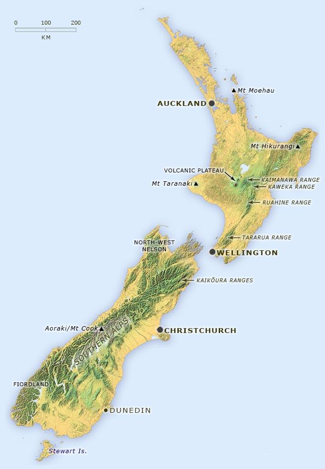 Alpine areas of New Zealand