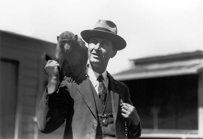 Frederick Nelson Jones with a monkey