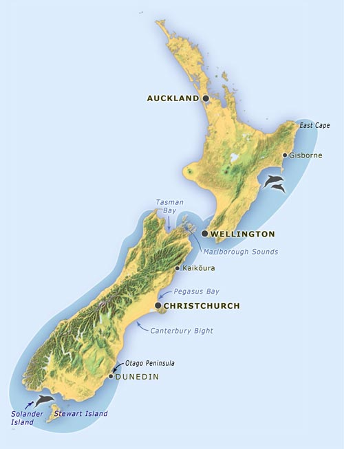New Zealand distribution of the dusky dolphin