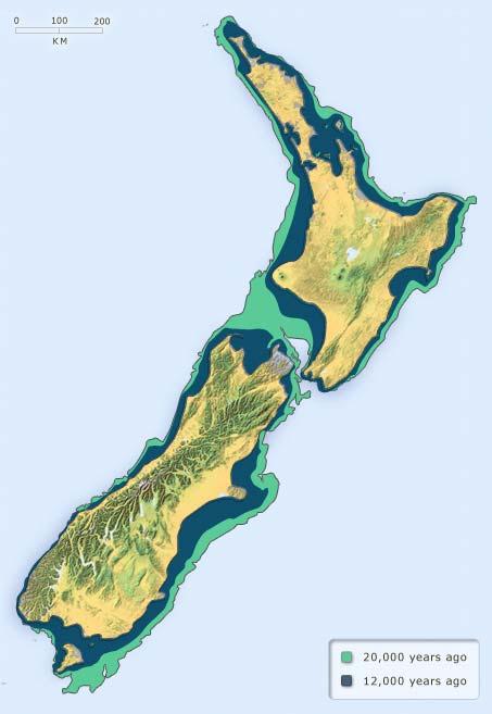 New Zealand's past land area