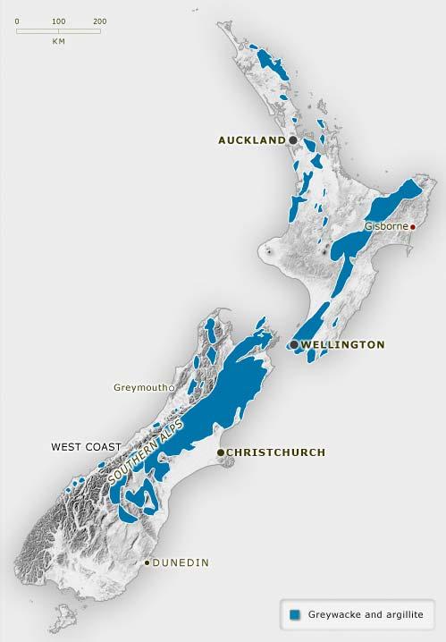 Greywacke in New Zealand