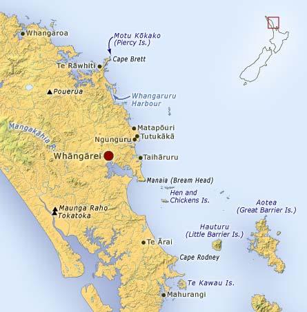 Map of Whāngārei area