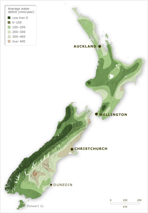 New Zealand water deficits