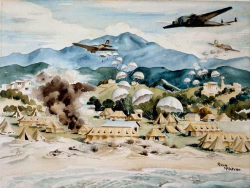 German paratroopers landing at Galatás, Crete