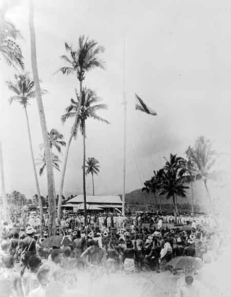 Raising the German flag, 1900