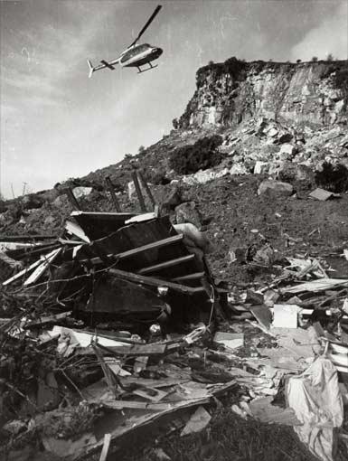 Landslide damage, Whitecliffs