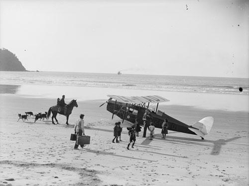 Biplane at Bruce Bay, 1935