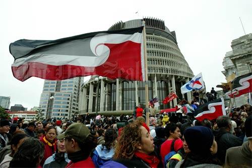 Tino rangatiratanga flags at Parliament