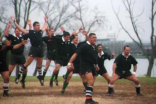 Rugby players performing a haka, Washington DC