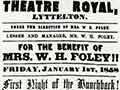 Poster advertising Mrs W. H. Foley, 1858